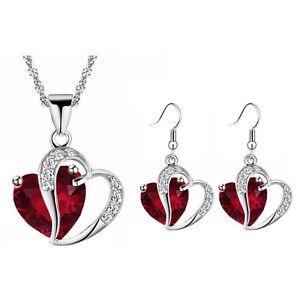 Rot Damen Schmuck Settwo Herzen Ohrhänger Halskette Valentinstag Tag S855