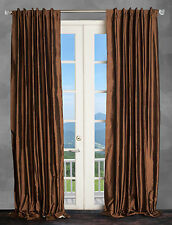 100% Dupioni Silk Drapes, Brown Sepia 50X96 window treatments, 2 Panels. NEW!