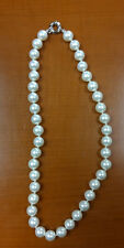"Mother of Pearl Shell Pearl Genuine White Round Ladies Clasp 18"" Necklace"