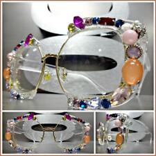 OVERSIZE VINTAGE RETRO Style Clear Lens EYE GLASSES Bling Crystal Frame Handmade