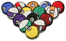 """Billiard, Pool, Racked Balls Emblem Embroidered Iron or sew on Patch Applique 3"""""""