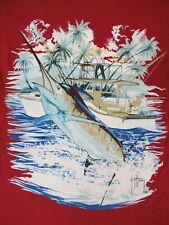 Guy Harvey - Bolsillo Camiseta - Marlin & Pesca -Pequeño- Rojo Burdeos B1873