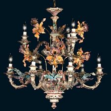 Capodimonte Made in Italy 9 Light Orchid Chandelier Mother of Pearl Finish (New)