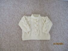 Hand Knitted Baby Clothes, Cream Aran Sweater, 6 -12 months.