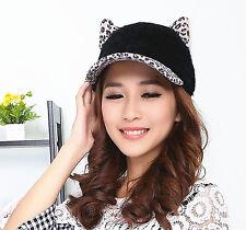 Leopard Print Cute Black Devil Horn Cat Ear Snapback Adjustable Baseball Cap Hat
