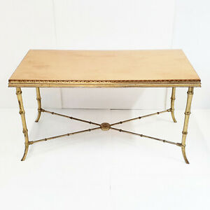 Coffee Table Faux Bamboo Home Jansen 1970 Vintage Brass Golden & Wood 70S