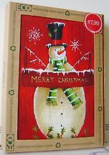16 CT PK HOLIDAY CARDS Green ENVELOPES ECO Recycled 1 Design Snowman CHRISTMAS