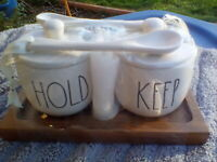 """Rae Dunn """"HOLD"""" & """"KEEP"""" Jar Cellars With Lids Spoons and Tray as shown"""