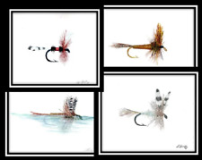 Dry Fly Print set of 4, fisherman gift, fly fishing gift, fishing, fly fishing