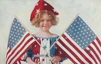 Girl In Red, White and Blue Holding Two Flags Patriotic Postcard - 1909