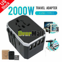2000W Universal Worldwide Travel Adapter Wall Charger Type-C+4 USB Port Silver