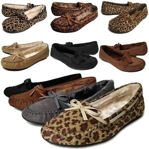 New Women's Moccasin Flats Warm Soft Fur Lined Bow Stitch Loafer Slipper Shoes
