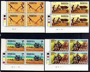 RHODESIA 1968 PLOUGHING CONTEST MNH PLATE BLOCKS, SG 422-425, 4 BLOCKS