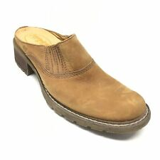 Women's Timberland Mules Clogs Shoes Size 7M Brown Leather Side Stretch G12