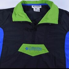 Men's VTG 90S Medium Columbia Sport Neon Windbreaker Black/Green/Blue