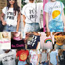 Nuevo De Moda Mujer Casual Blusa Camisa Manga Corta Camiseta Estampado Tops