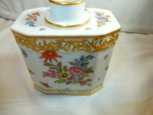 Antique Paris Porcelain Bourdois & Bloch  Floral bouquets Bottle  Tea caddy Vase