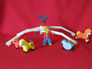 VINTAGE Fisher Price Baby Crib FARM MOBILE 1973 Horse Pig Sheep Cow Scarecrow