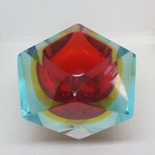 VTG Murano Sommerso or Mandruzzato Faceted Glass Bowl Ashtray BLUE RED YELLOW