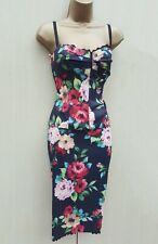 UK 12 Karen Millen Floral Rose Lace Trim 2 Piece Corset Top & Skirt Outfit Dress