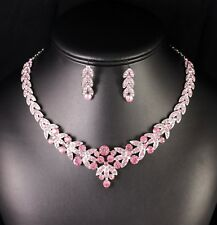 Floral Pink Austrian Rhinestone Crystal Necklace Earrings Set Bridal Prom N20p
