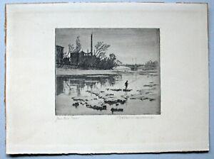 "Walter Kramme (1888-1949) Radierung ""Angler an der Isar"" signiert um 1920"