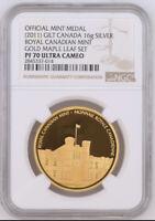 RARE 2011 Gold Gilt RCM Medal Canada Silver 16g Royal Canadian Mint NGC PF70