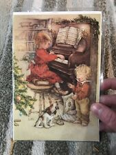 Lisi Martin Vintage Christmas Card Sweden Little Girl Boy Playing Piano Dog