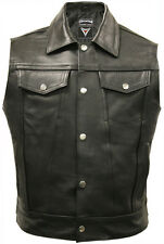Mens Cut Off Motorcycle Waistcoat Cowhide Real Leather Black Biker Vest Jacket