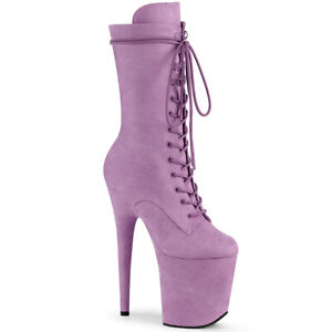 """Pleaser 8"""" lilac dancer faux suede mid calf boots"""