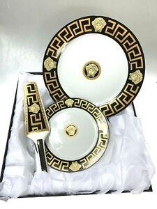 Serving Set Of 8 Pieces Black & Gold With Medusa Print Scratch & Dent Sale