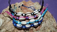 Bracelet Conch Shell  Friendship  Pink Blue Dark Blue Black Beaded Beach