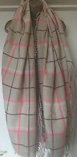 Berry comprobar bufanda de tartán Crema Rosa Marrón Tirar Rosa Fluorescente rara