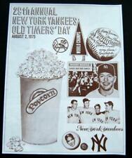 29th Annual New York Yankees OLD TIMERS Day Game August 2, 1975 Mantle Stengel