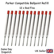 PARKER COMPATIBLE BALL POINT PEN REFILL INK - FINE RED X12