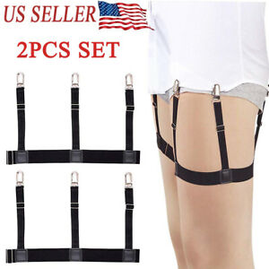 Male Men Hidden Shirt Stays Holder Garters Belt Elastic Locking Clamps Non Slip