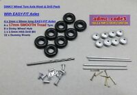Dinky 8 Wheel Hubs & 17mm Smooth Tread Tyres 4 x Easy-Fit Axles~12 Rivets +Drill