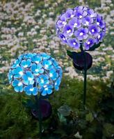 Blue or Purple 26-Light Solar Flower Garden Stake Yard Lawn Outdoor Home Decor