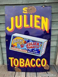 """Early ST JULIEN OGDENS TOBACCO Enamel Sign Advertising LARGE 36"""" x 24"""""""