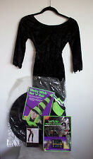 Girls Witch Costume Black Dress Hat/WIg Make-up Kit Fake Nose/Nails Tights L w11