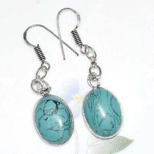 BLUE TURQUOISE Silver Plated Handmade Gemstones Earrings CCJJ188