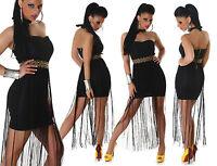 vestito donna mini abito corto maxy lunghe frange fascia etnica tg M,L