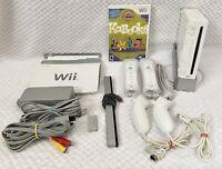 Nintendo Wii OEM Bundle RVL-001 GameCube 2 Remotes 2 Nunchucks 1 Game TESTED