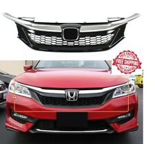 For 2016 2017 Honda Accord Sedan 9th Gen Front Grill Honeycomb Black And Chrome