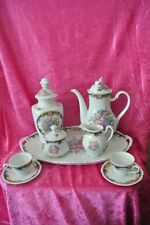 Bavarian Demitasse Set Tirschenreuth Bavaria Coffee Pot Biscuit Jar Tray 7 Piece