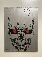 The Terminator hand painted exoskeleton Schwarzenegger canvas art signed canvas