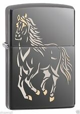 "Zippo Black Ice / ""Galloping Horse"" Windproof Lighter 28645 --- Free Ship"