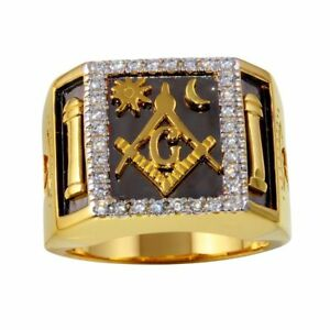 Men's Sterling Silver Gold Plated CZ Stones Masonic Symbol Square 2-tone Ring