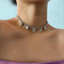 Silver Rhinestone Butterfly Crystal Tennis Choker Necklace