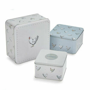 Square Cake Storage Tins Set of 3 Farmers Kitchen Chickens Hens Design by Coo...